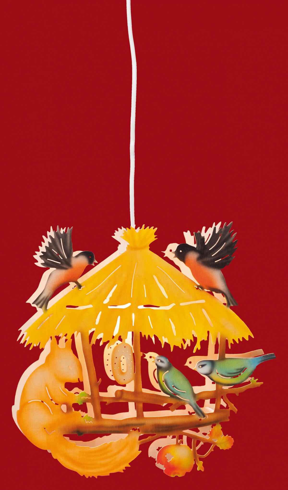 fensterbild vogelhaus mit eichh rnchen fensterbilder. Black Bedroom Furniture Sets. Home Design Ideas
