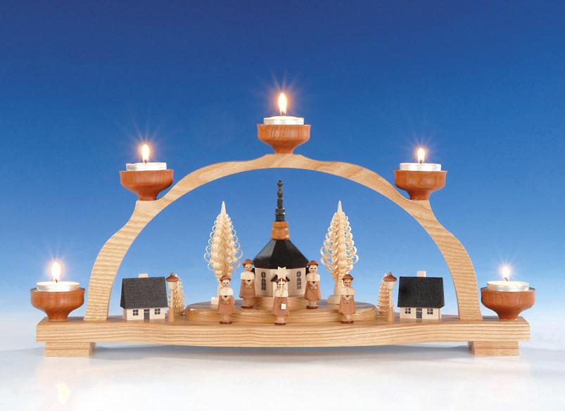 schwibbogen mit teelicht seiffener kirche erzgebirgskunst drechsel. Black Bedroom Furniture Sets. Home Design Ideas