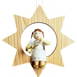 Baumbehang Engel mit Waldhorn im Stern, groß