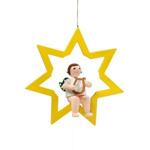 Engel im Stern mit Handharfe, 38 cm
