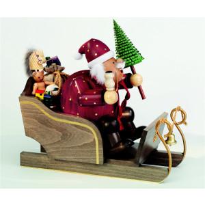 Räuchermännchen Weihnachtsmann mit Schlitten, groß