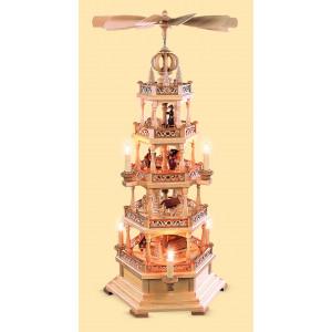 Pyramide mit Erzgebirgsmotiv 4-stöckig, elektrisch