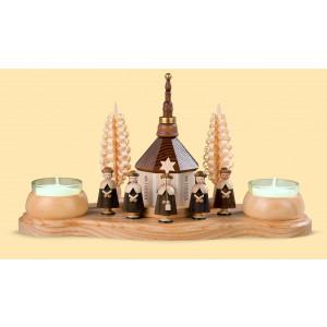Teelicht Kerzenhalter Seiffener Kirche und Kurrende