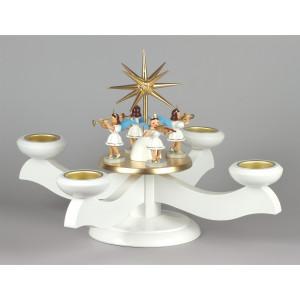 Adventsleuchter mit Blank-Engeln für Stumpenkerzen weiß
