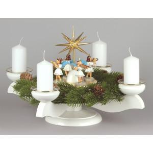Adventsleuchter mit Blank-Engeln für Stumpenkerzen weiß, komplett