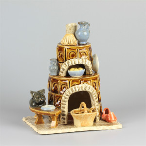 Keramik Räucherofen Kamin braun rund