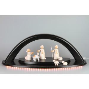 LED-Schwibbogen weiß mit KWO Krippefiguren, groß