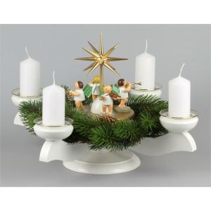 Adventsleuchter mit Wendt & Kühn Engeln für Stumpenkerzen, komplett
