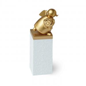 Schutzengel Gold mit Blumenstrauß