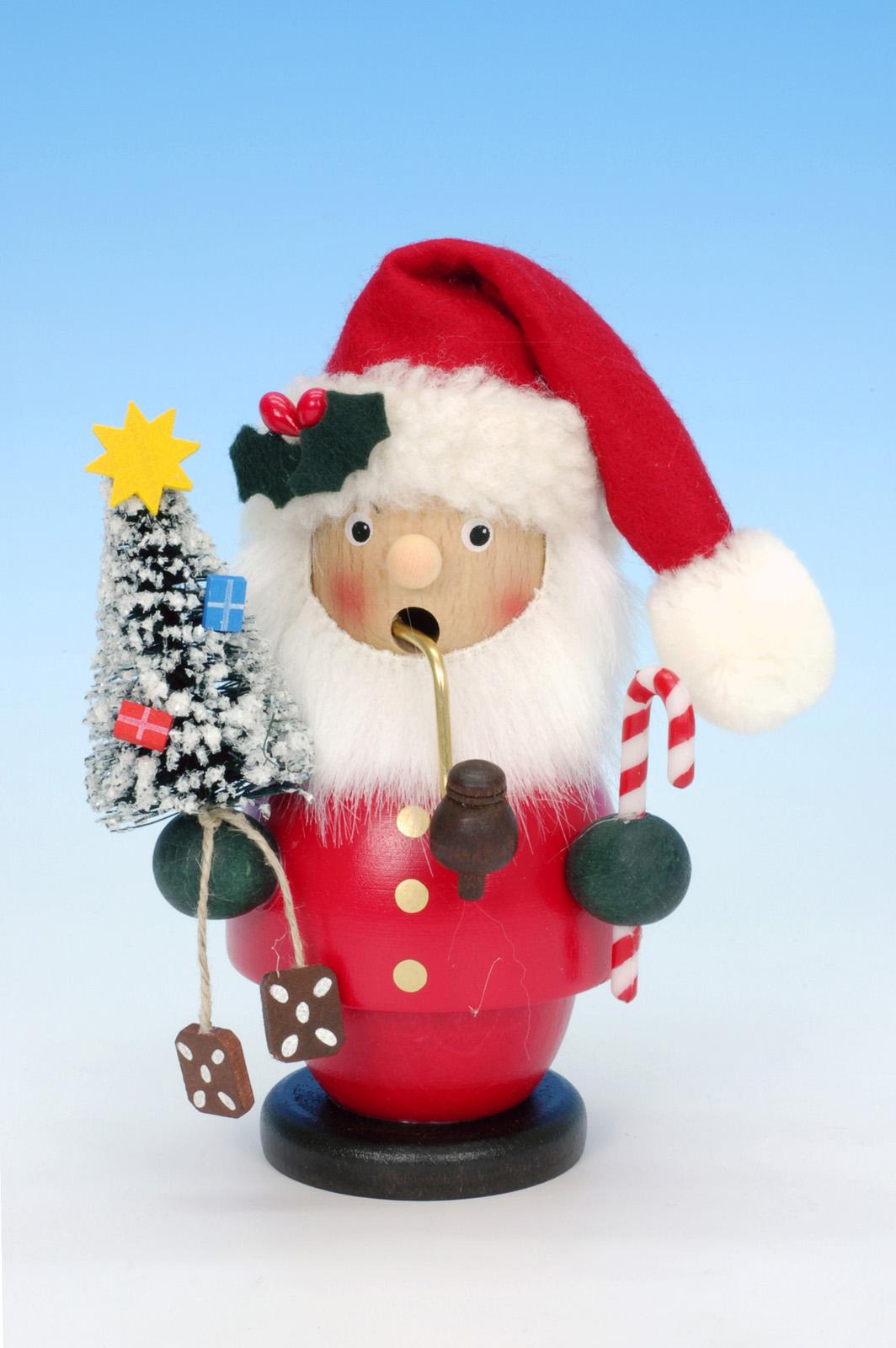 Räuchermännchen Weihnachtsmann rot mit Tanne