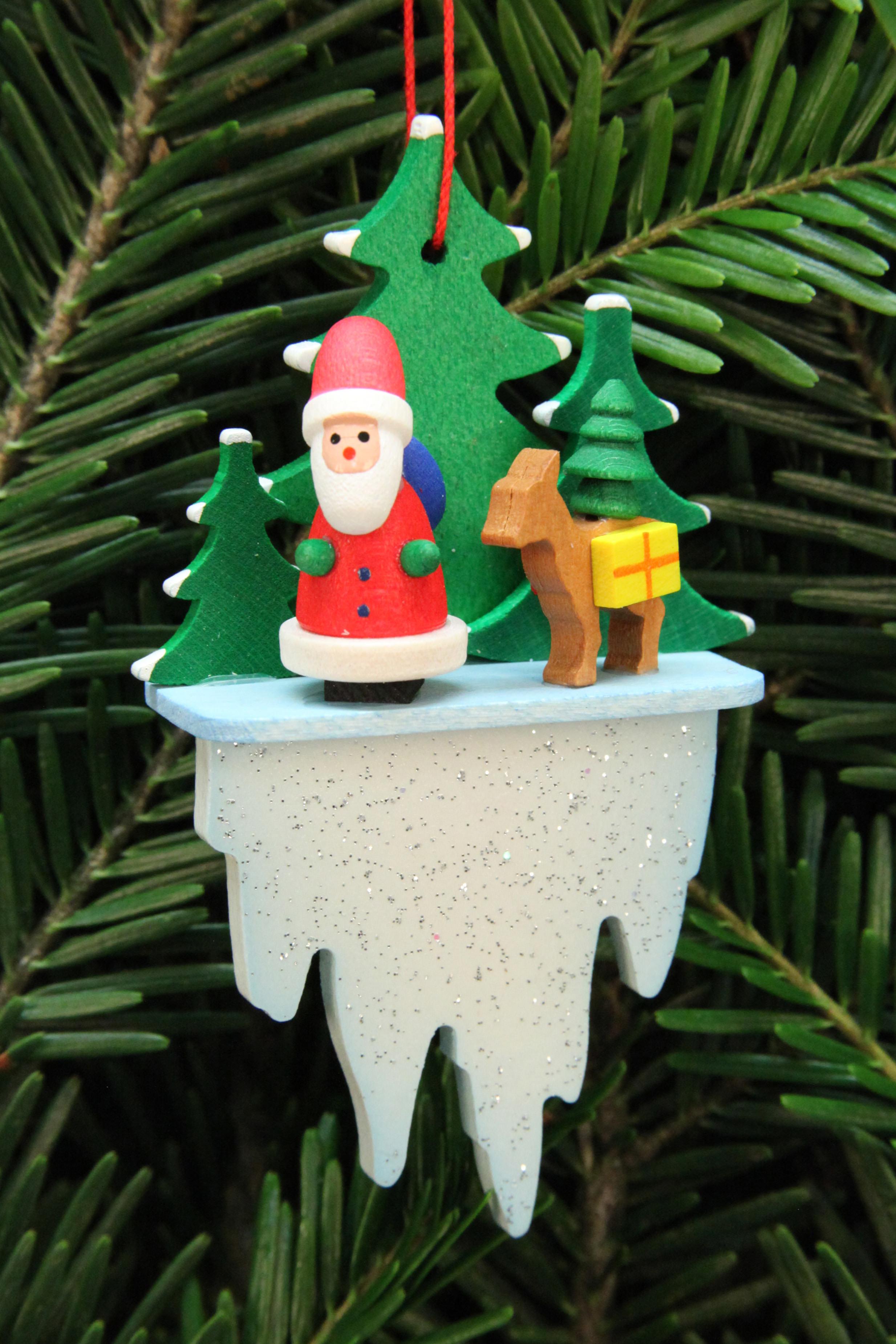 Baumbehang Weihnachtsmann mit Bambi auf Eiszapfen