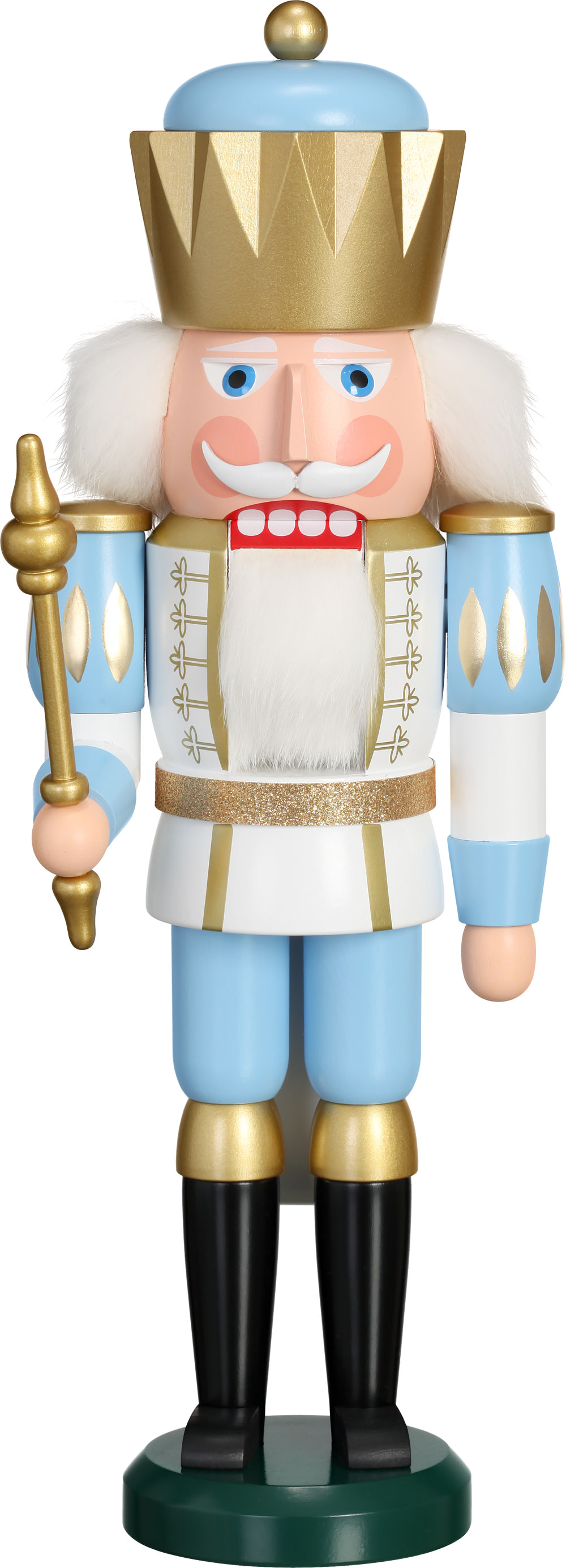 Nussknacker König, weiß-blau