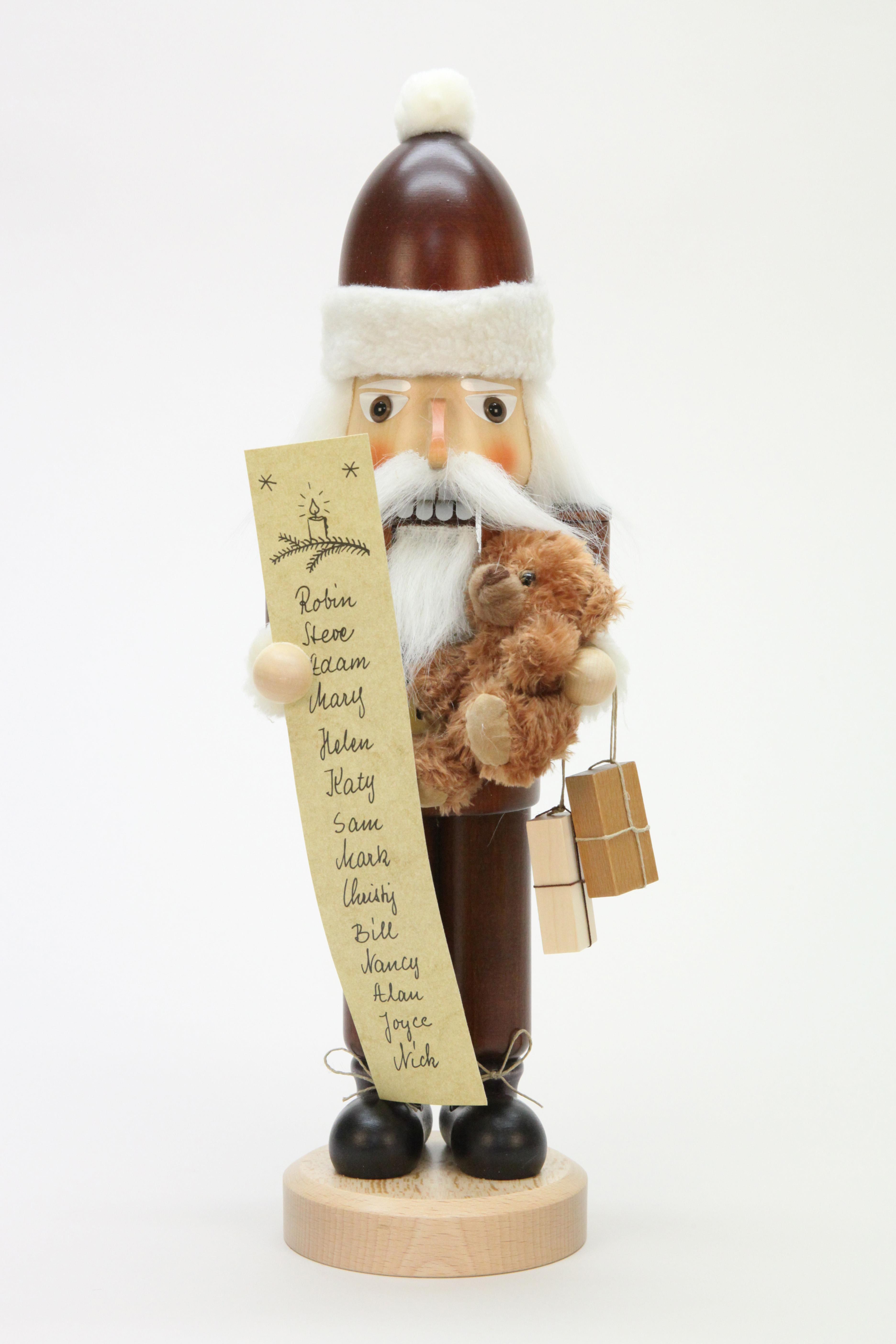 Nussknacker Weihnachtsmann mit Namensliste, natur