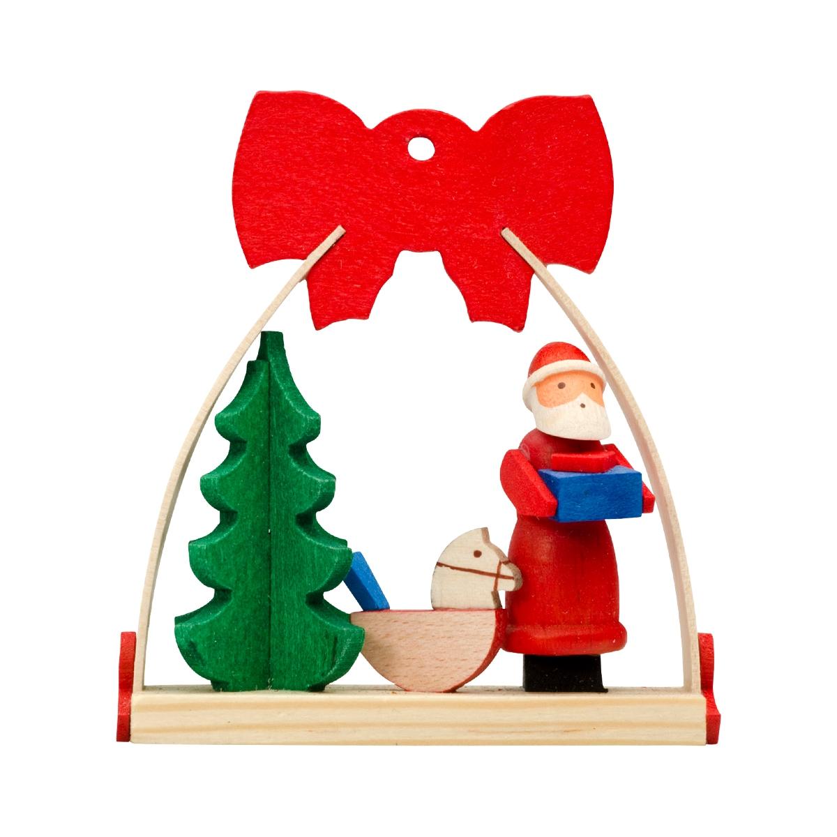 Baumbehang Schleife Weihnachtsmann mit Schaukelpferd