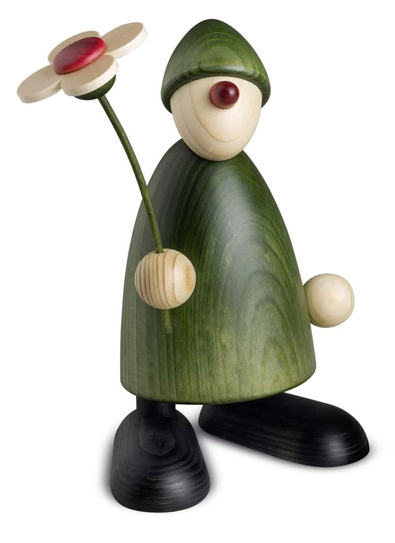 Gratulant Phillip mit Blume stehend, grün, 17 cm