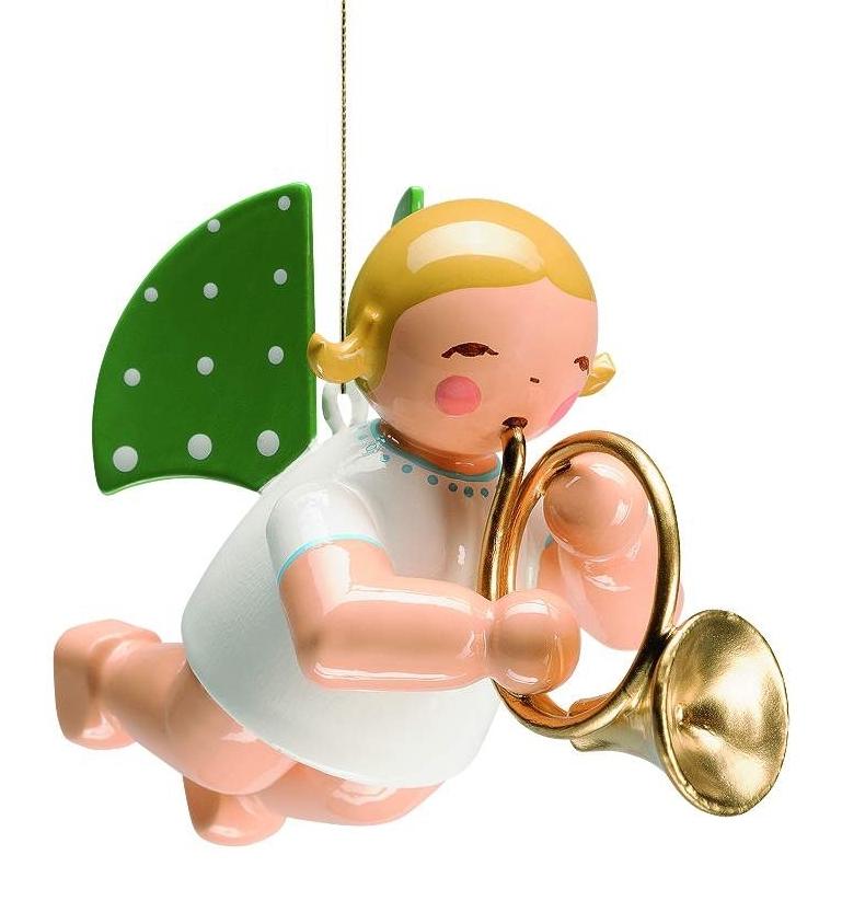 Engel mit Waldhorn schwebend, blondes Haar