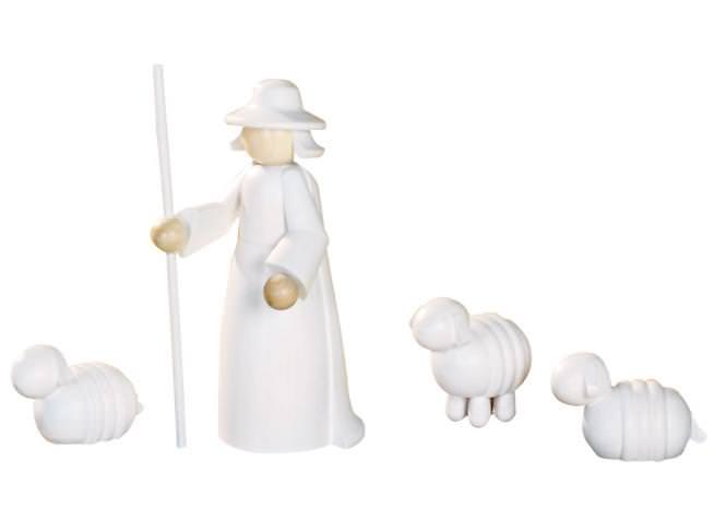 Figurengruppe Schäfer mit Schafen 4-teilig