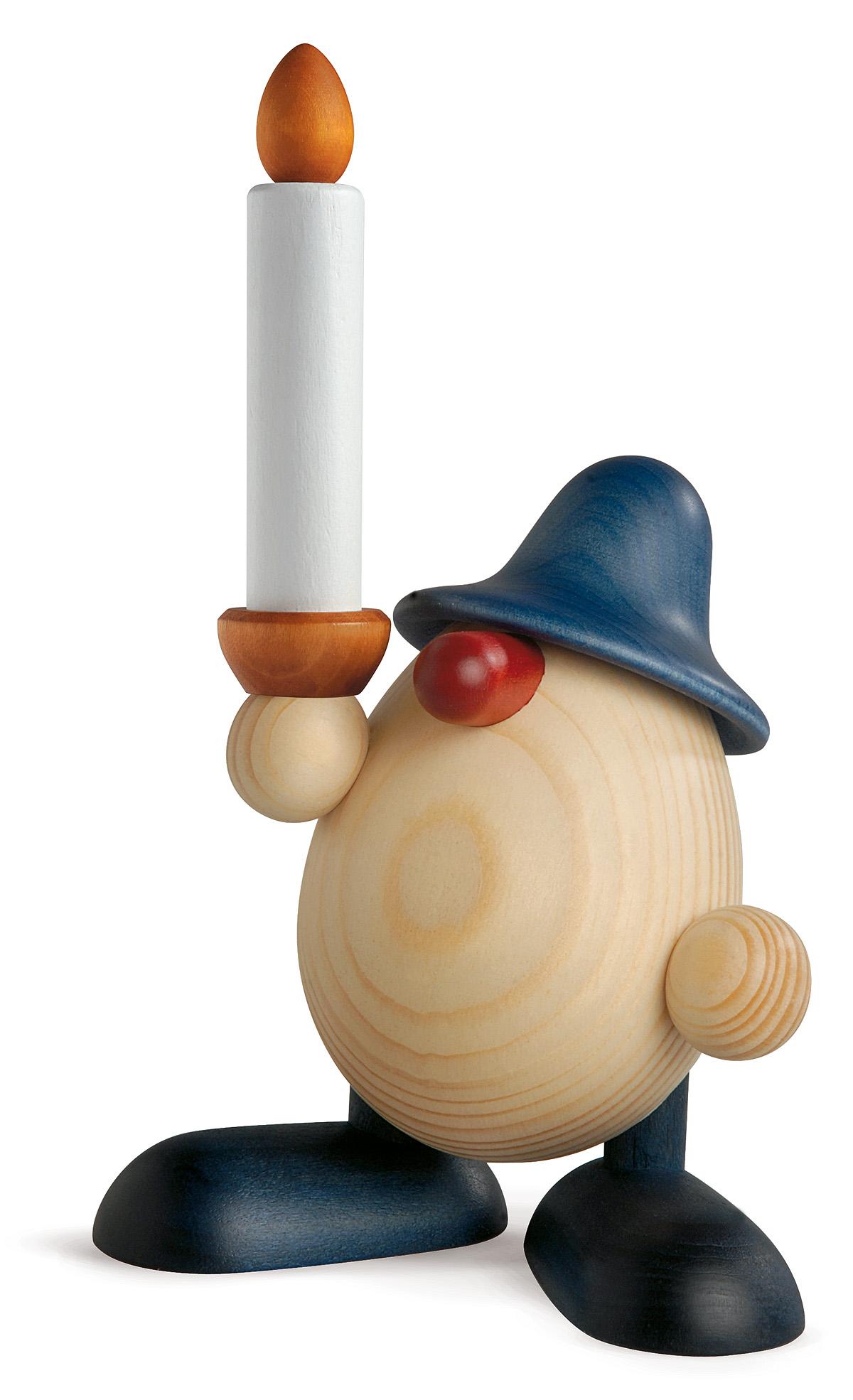 Eierkopf Lichtgestalt Alfred mit Kerze, blau
