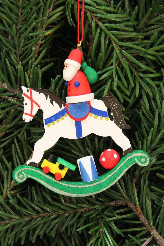 Baumbehang Weihnachtsmann auf Schaukelpferd