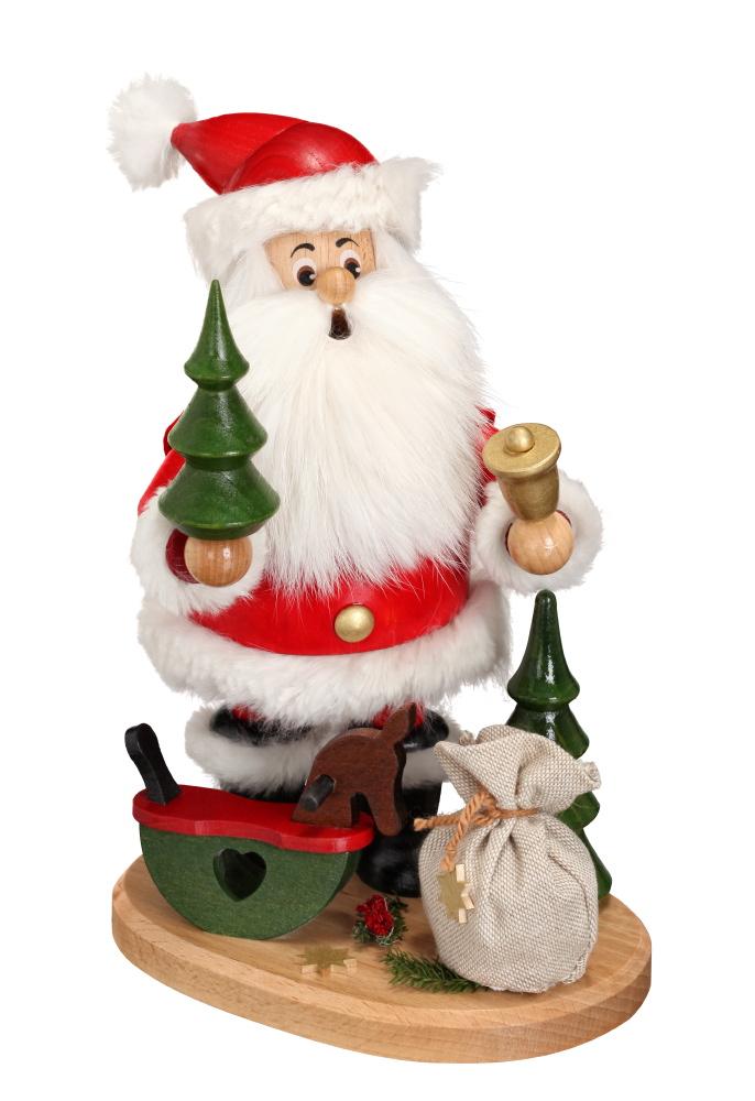 Räucherwichtel Weihnachtsmann mit Schaukelpferd