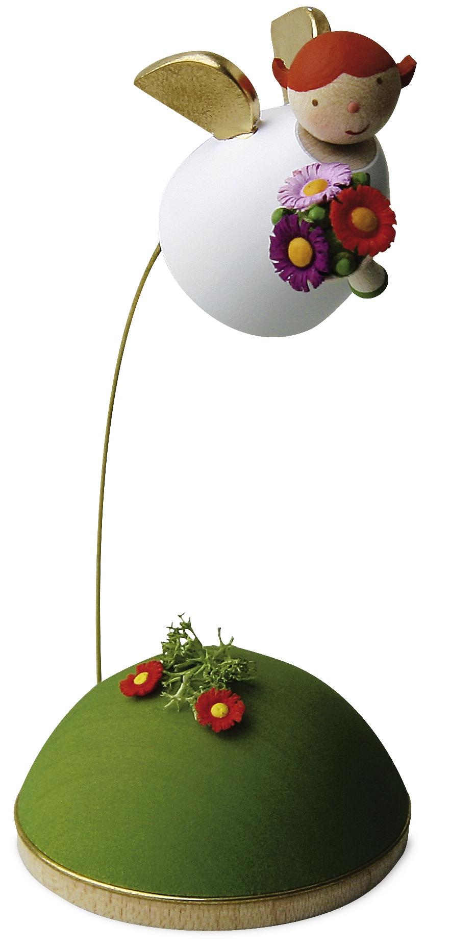 Schutzengel mit Blume schwebend am Ständer