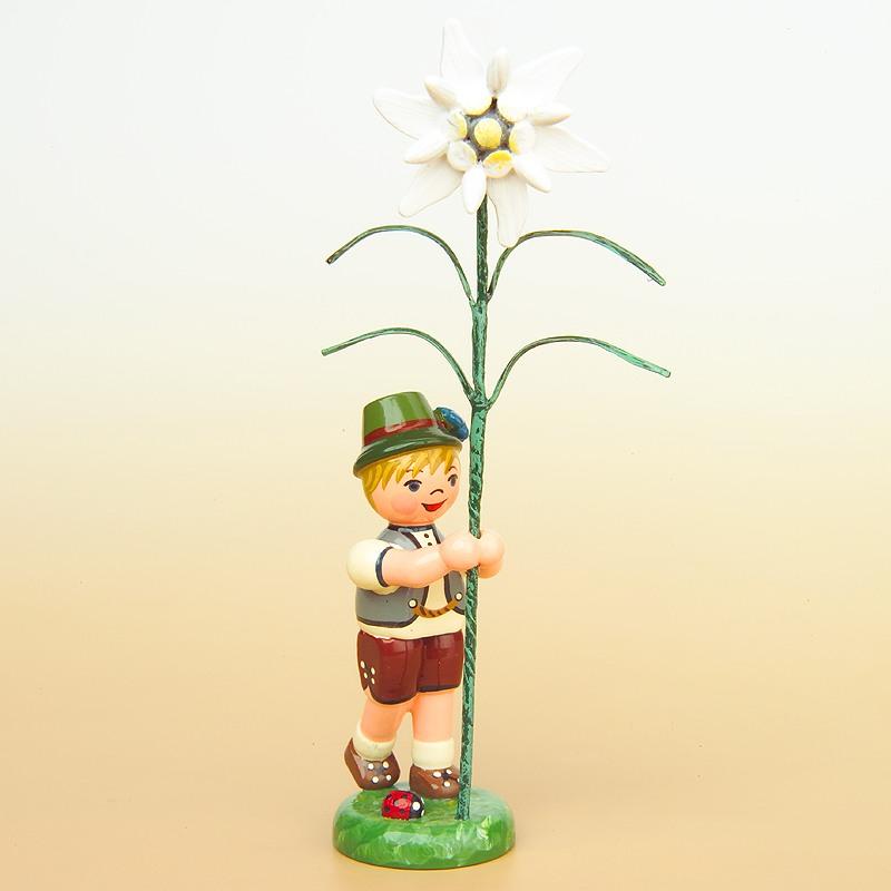 Blumenkind Junge mit Blume Edelweiß