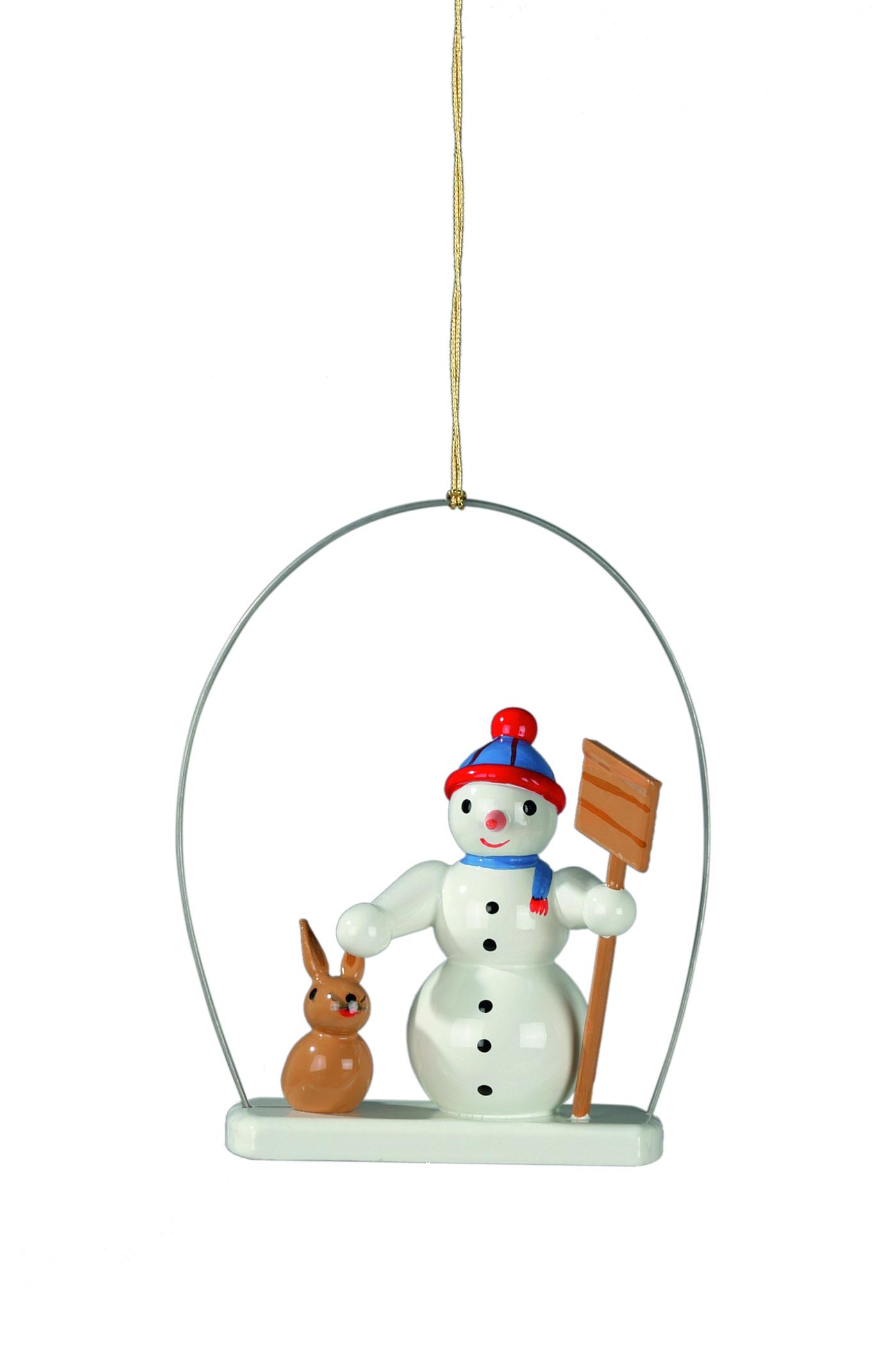 Baumbehang Schneemann mit Schneeschippe im Ring