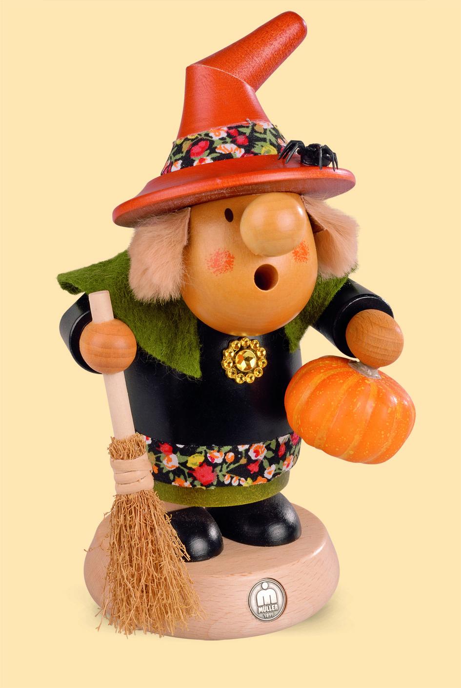 Räuchermännchen Müllerchen Halloween Hexe mit Kürbis