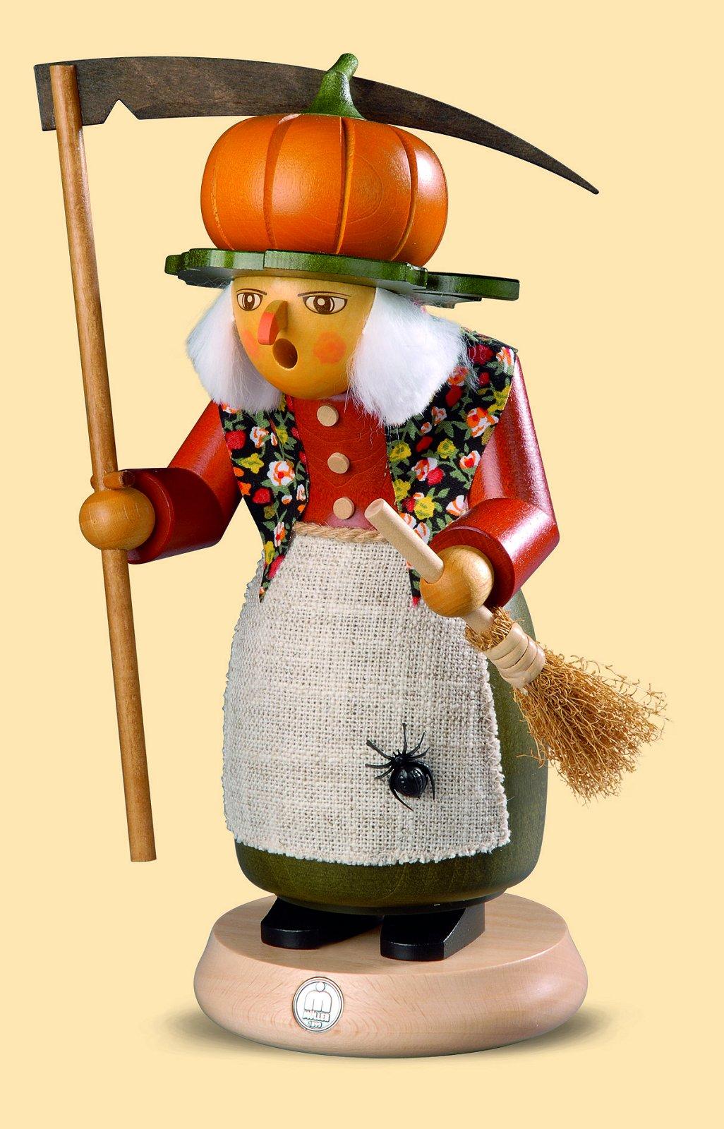 Räuchermann Halloween Hexe mit Kürbis