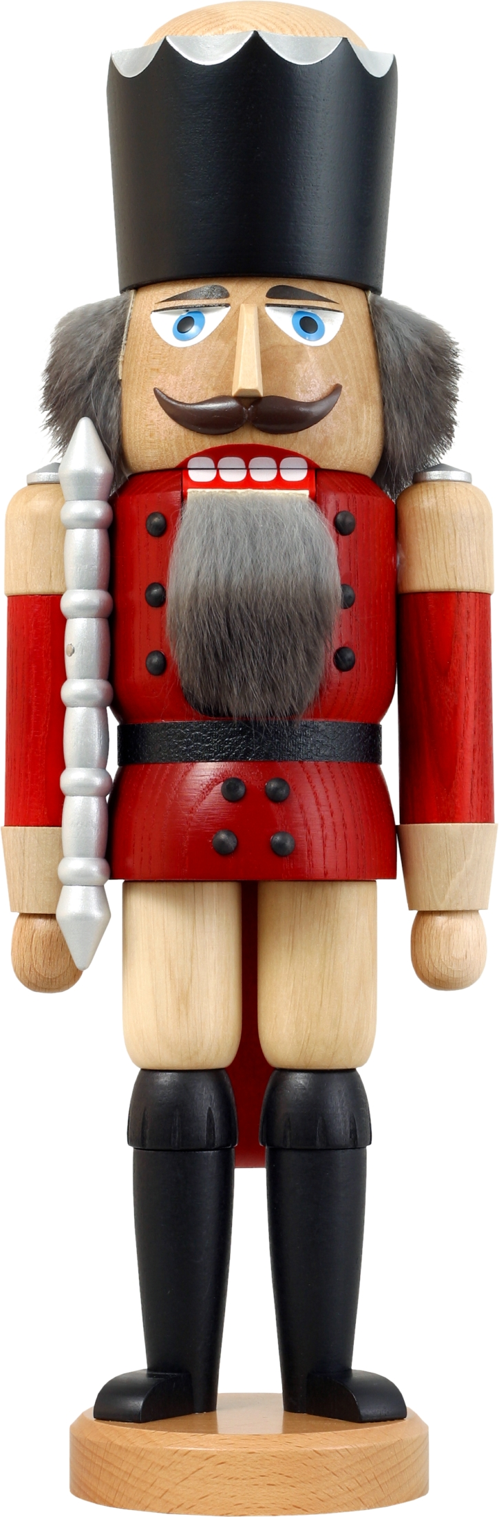 Nussknacker König aus Esche lasiert rot