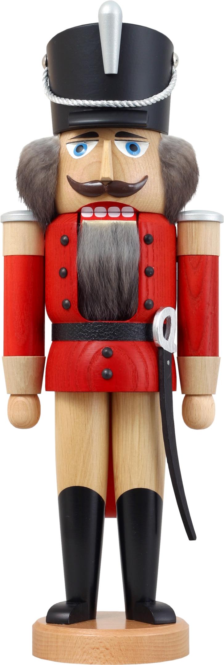 Nussknacker Husar aus Esche lasiert rot