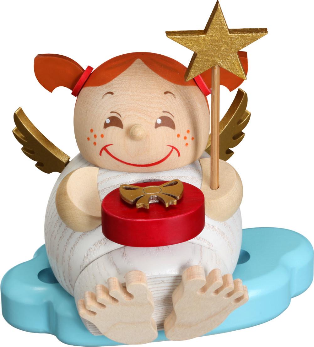 Kugelräucherfigur Engel mit Weihnachtsgeschenk - Erzgebirgskunst ...