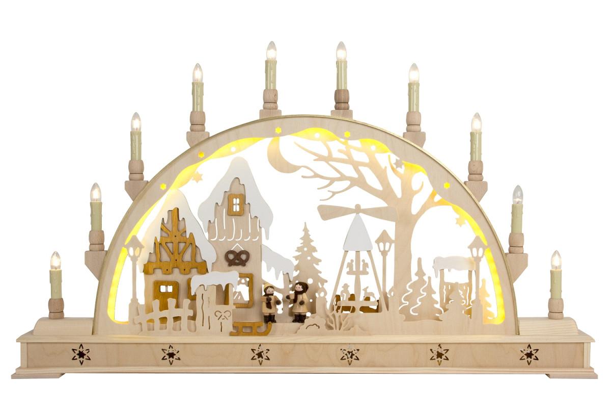 led schwibbogen weihnachtsmarkt mit sockel erzgebirgskunst drechsel. Black Bedroom Furniture Sets. Home Design Ideas