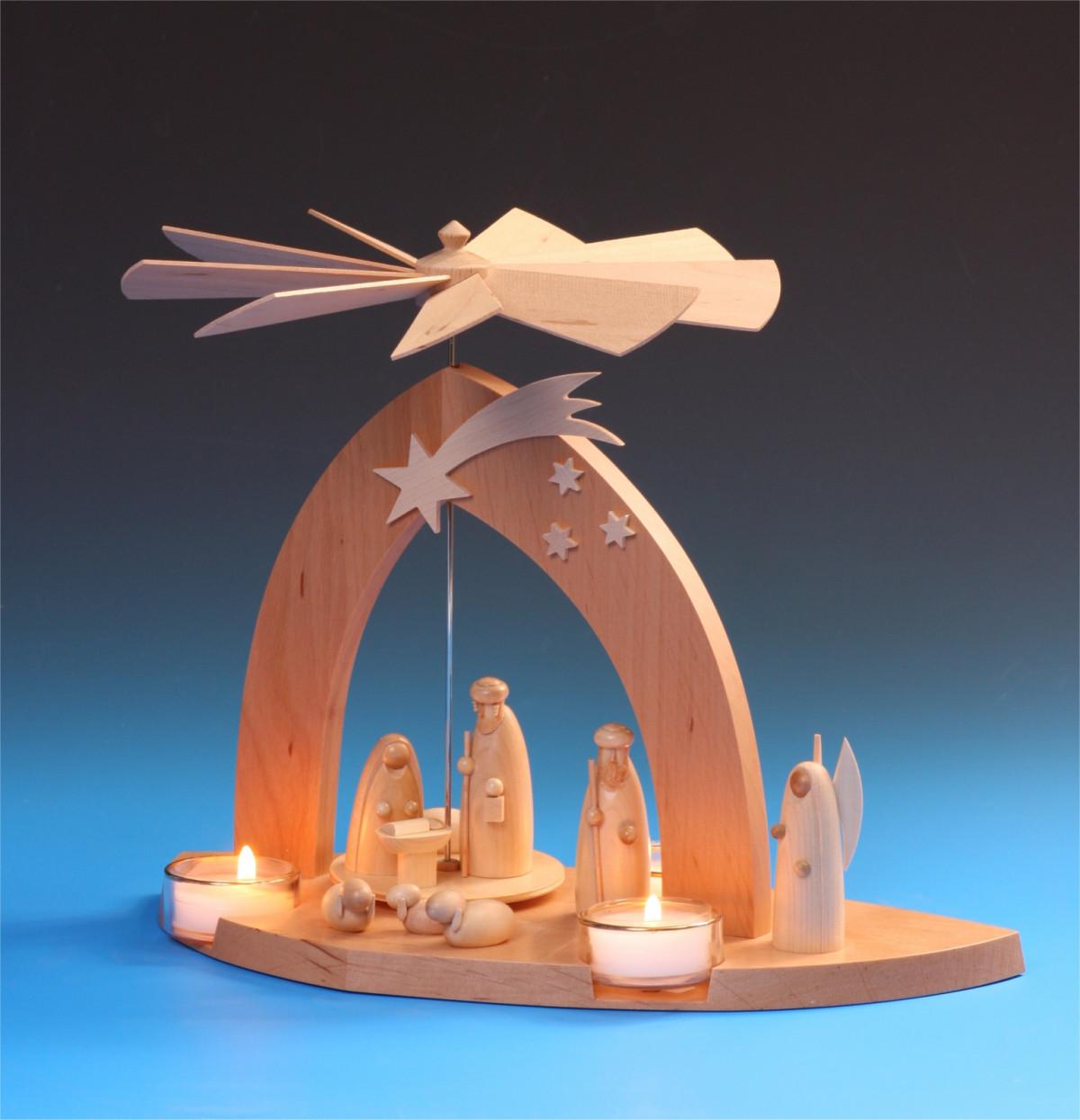 Pyramide Christi Geburt mit den 3 Weisen Erzgebirge Fa Schalling Seiffen Neu