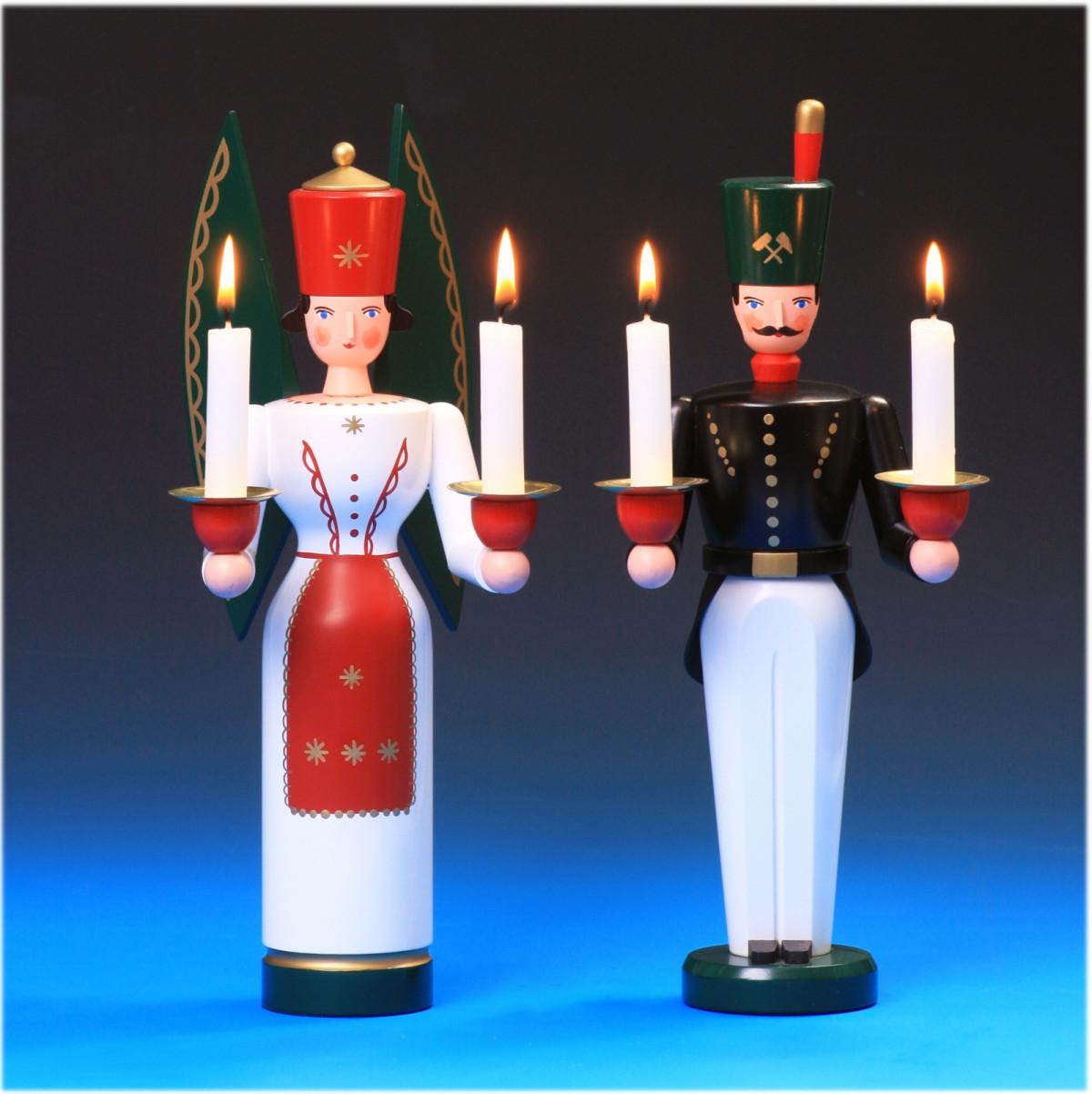 Engel Bergmann mit Joch für Kerzen Erzgebirge