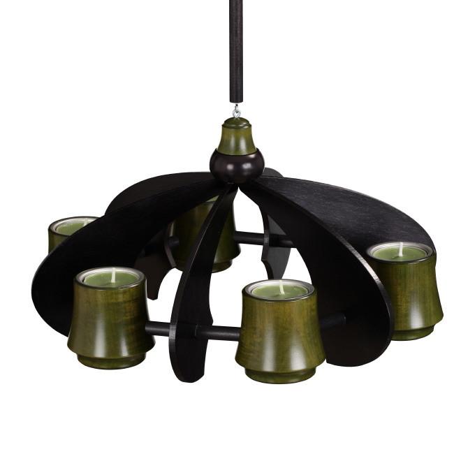 h ngeleuchter tischleuchter nova anthrazit moosgr n erzgebirgskunst drechsel. Black Bedroom Furniture Sets. Home Design Ideas