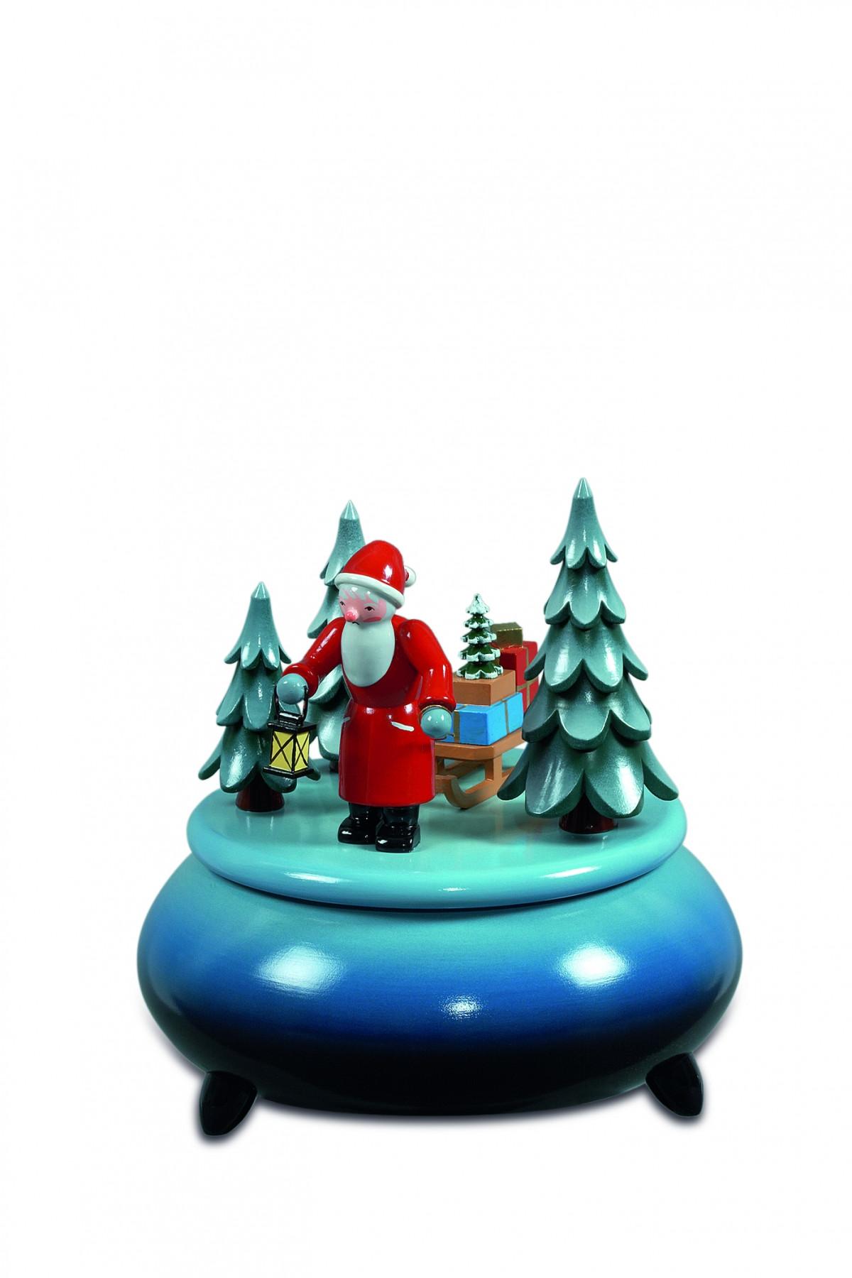 spieldose weihnachtsmann mit schlitten blau wei. Black Bedroom Furniture Sets. Home Design Ideas