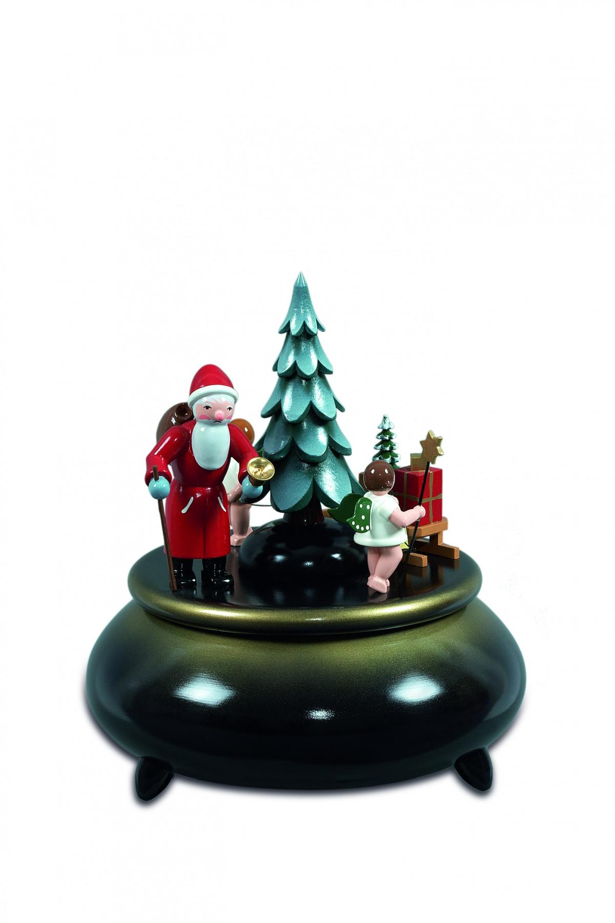 spieldose weihnachtsmann 2 engel mit schlitten blau. Black Bedroom Furniture Sets. Home Design Ideas