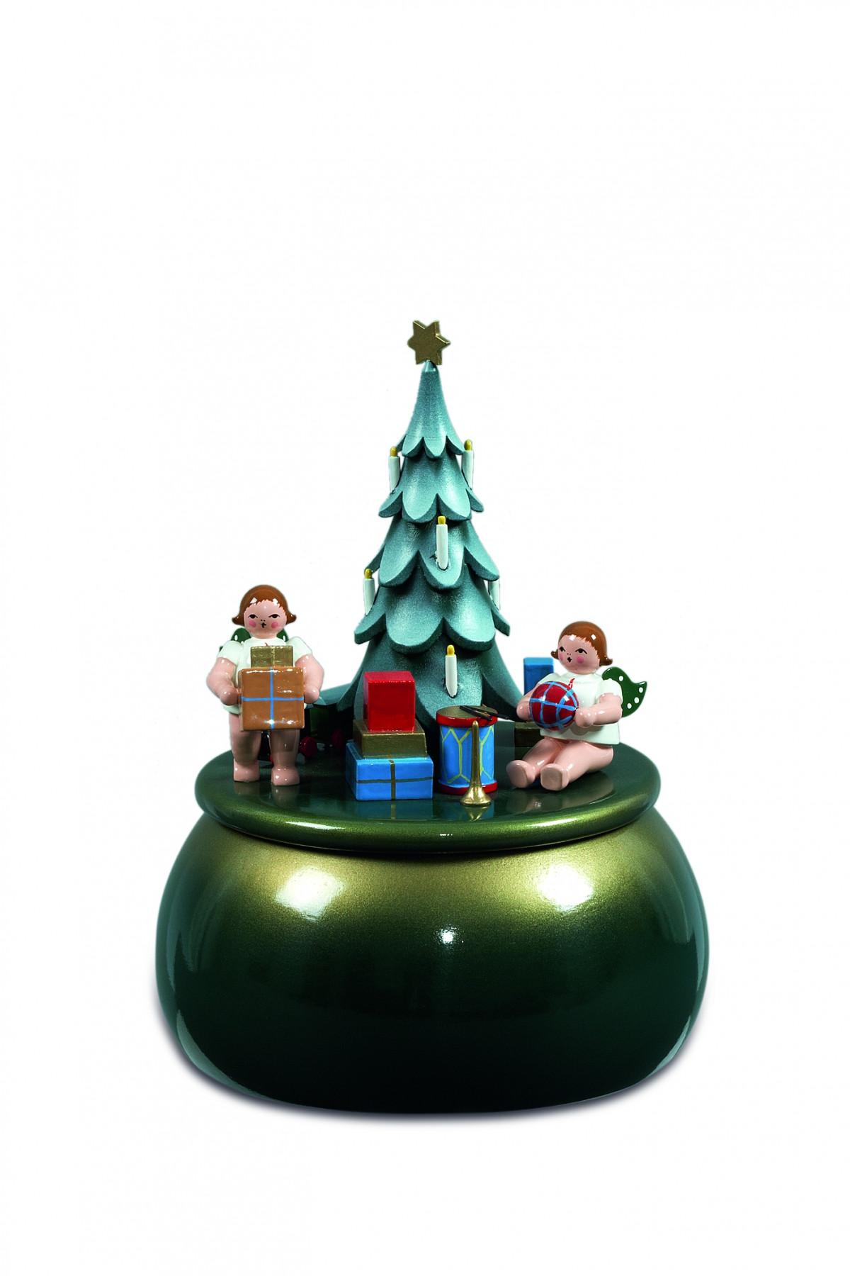 spieldose engel am weihnachtsbaum gr n gold ohne krone. Black Bedroom Furniture Sets. Home Design Ideas