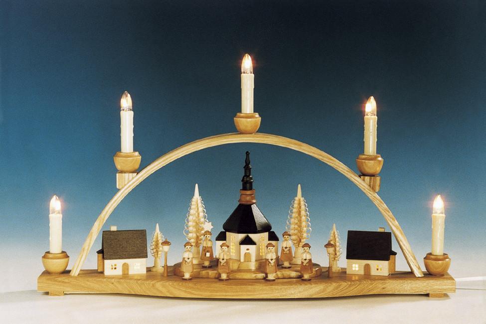 schwibbogen seiffener kirche mit innenbeleuchtung natur erzgebirgskunst drechsel. Black Bedroom Furniture Sets. Home Design Ideas
