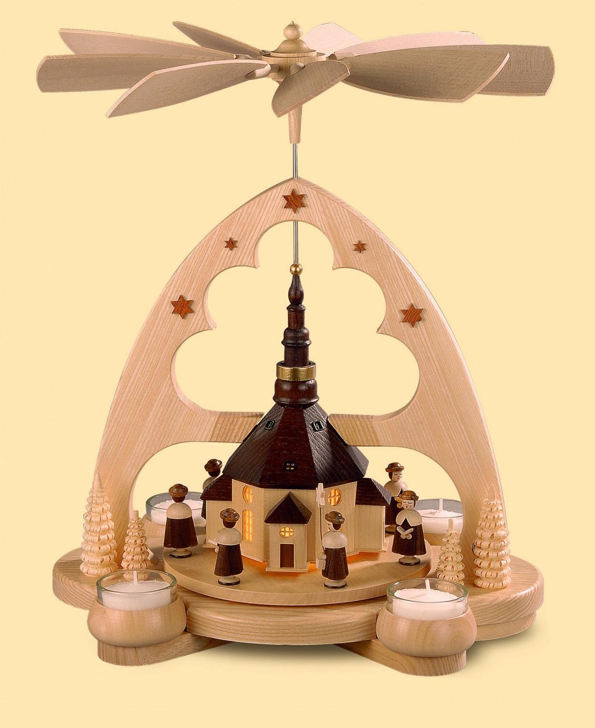 teelicht bogenpyramide seiffener kirche mit led beleuchtung erzgebirgskunst drechsel. Black Bedroom Furniture Sets. Home Design Ideas