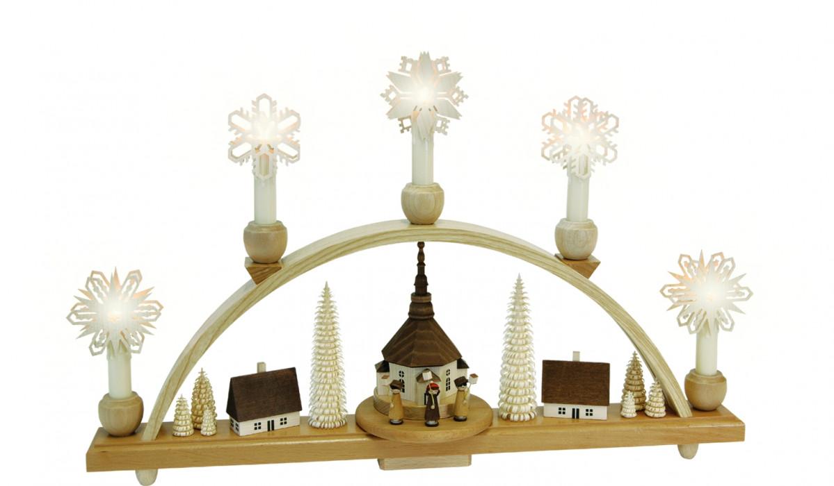 schwibbogen laternenkinder mit seiffener kirche erzgebirgskunst drechsel. Black Bedroom Furniture Sets. Home Design Ideas