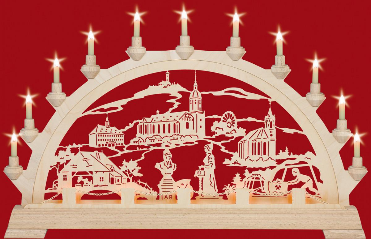 original Erzgebirge Schwibbogen Lichterbogen Weihnacht Schlittenfahrt bemalt