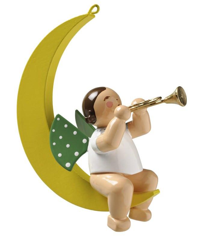 engel mit trompete im mond erzgebirgskunst drechsel. Black Bedroom Furniture Sets. Home Design Ideas