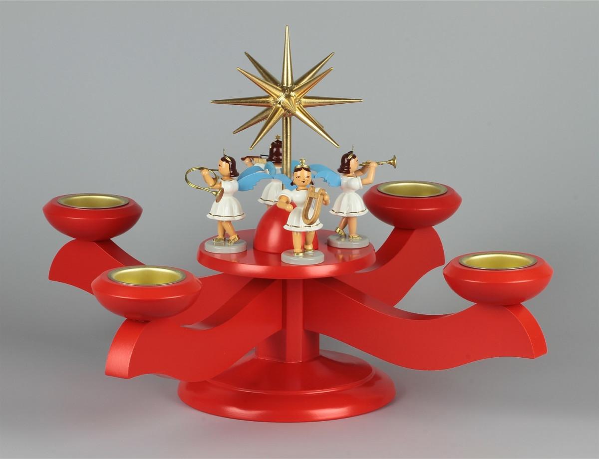 adventsleuchter mit blank-engeln für stumpenkerzen farbig