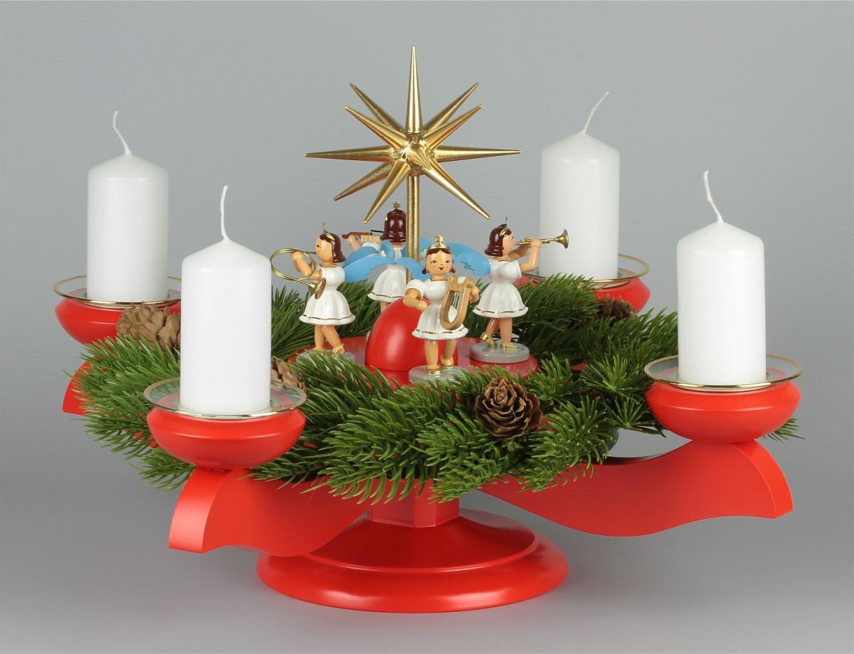 adventsleuchter mit blank-engeln für stumpenkerzen farbig, komplett
