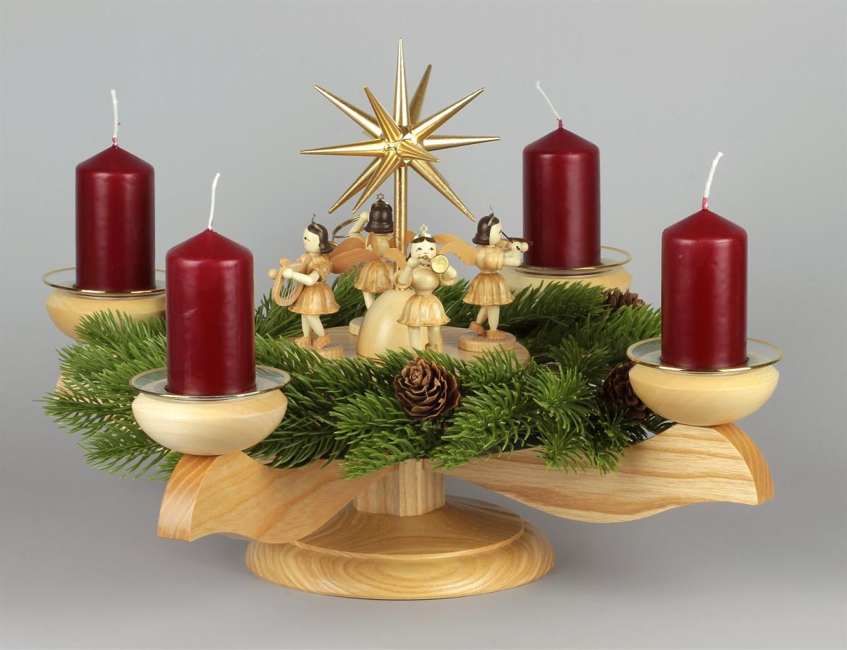 adventsleuchter mit blank-engeln für stumpenkerzen natur, komplett