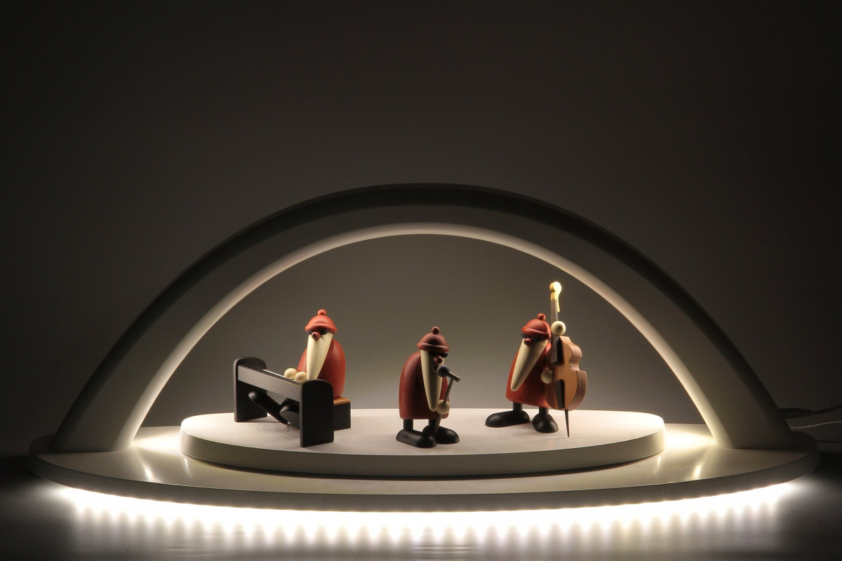 LED-Schwibbogen weiu00df mit Bju00f6rn Ku00f6hler Weihnachtsmannband ...