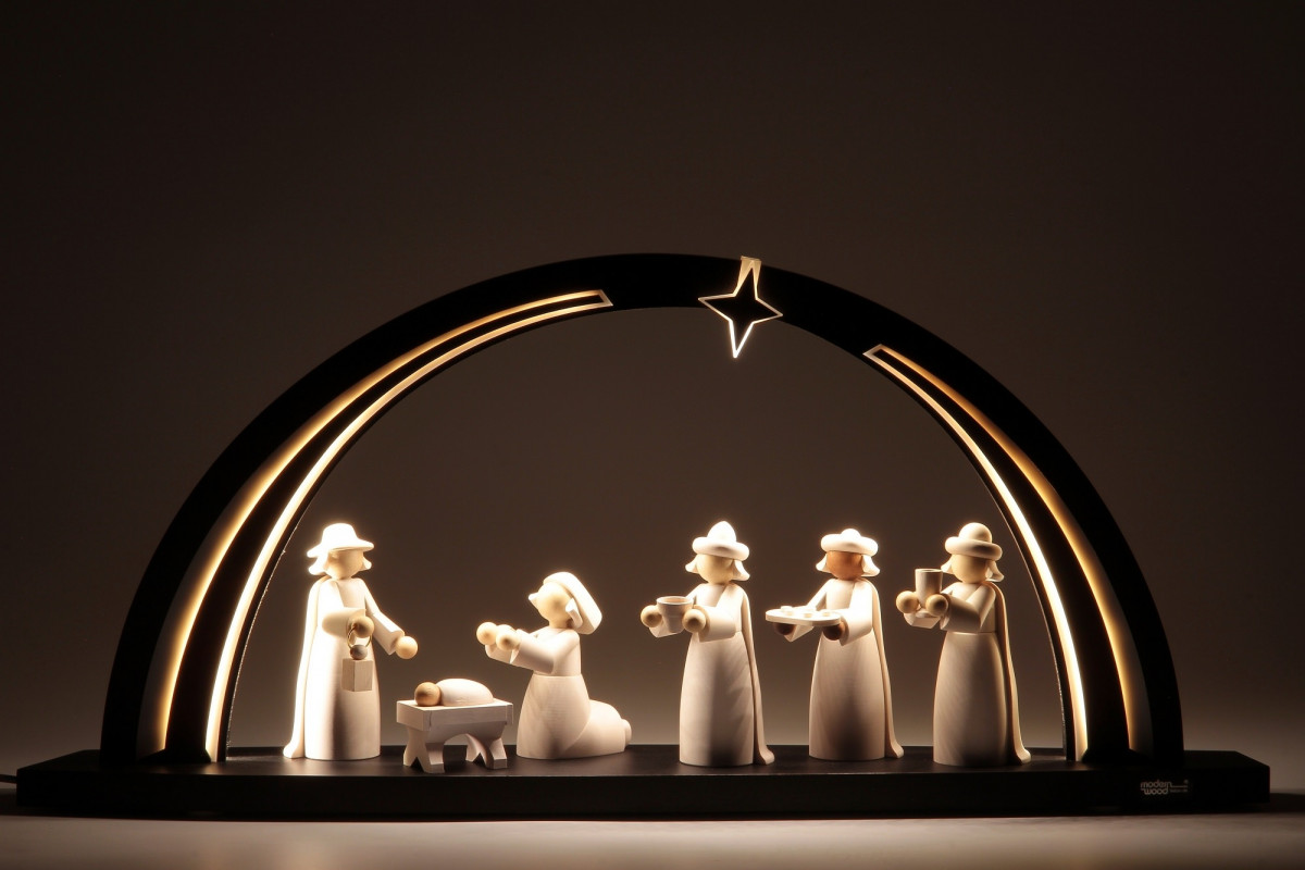 led schwibbogen schwarz wei mit christi geburt figuren gro erzgebirgskunst drechsel. Black Bedroom Furniture Sets. Home Design Ideas