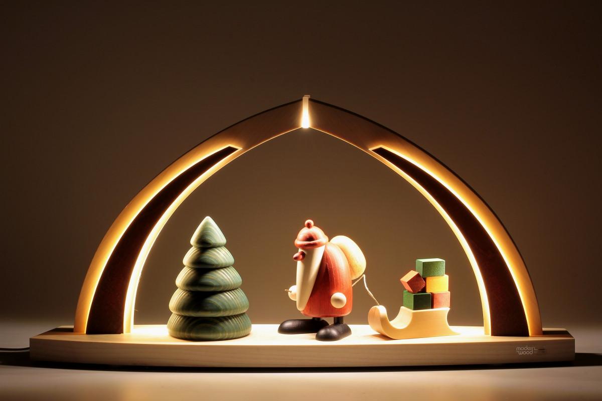 LED-Schwibbogen mit Bjoern Köhler Weihnachtsmann mit ...